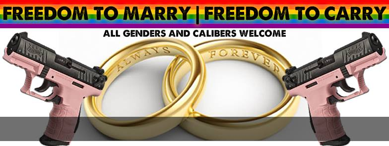 Freedom to marry, Freedom to carry - guns - gays - freedom - Saturday, August 23, 2014 7:00pm - Tempe - 3rd Street, Mill Avenue - Mike Shipley
