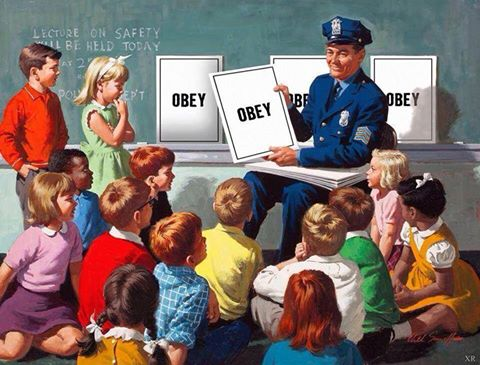 Officer Friendly with DARE D.A.R.E. says obey, obey, obey, obey, OBEY, OBEY, OBEY, OBEY