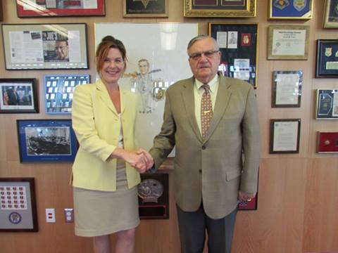 Kathy Inman of Phoenix NORML, Arizona NORML and NORML posing with police state terrorist Sheriff Joe Arpaio